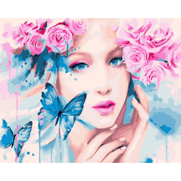 "Картина по номерам ""Девушка с бабочками"""