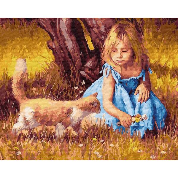 "Картина по номерам ""Девочка с кошкой"""