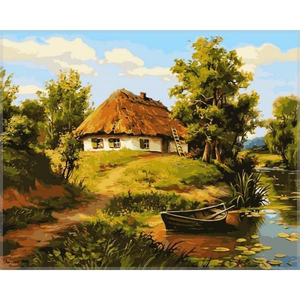 """Картина по номерам """"Домик возле пруда"""""""