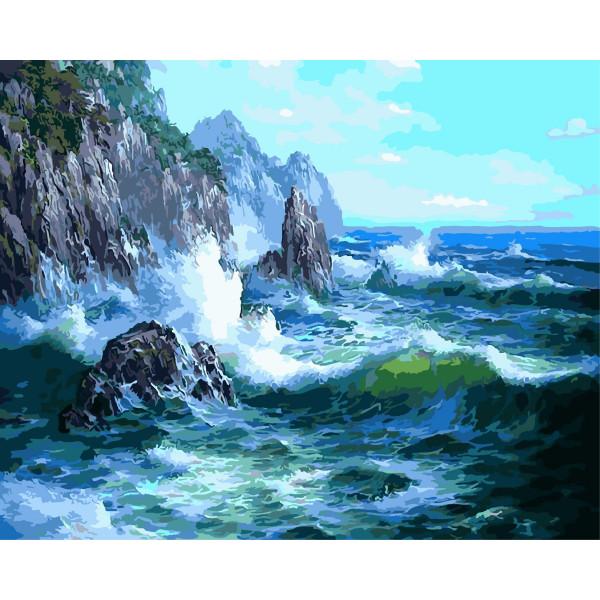 """Картина по номерам """"Волны о скалы"""""""