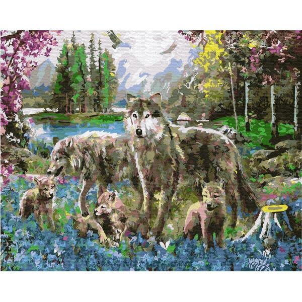 "Картина по номерам ""Волки на лесной поляне"""