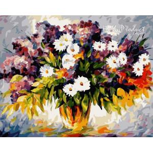 """Картина по номерам """"Букет полевых цветов и ветка сирени"""""""