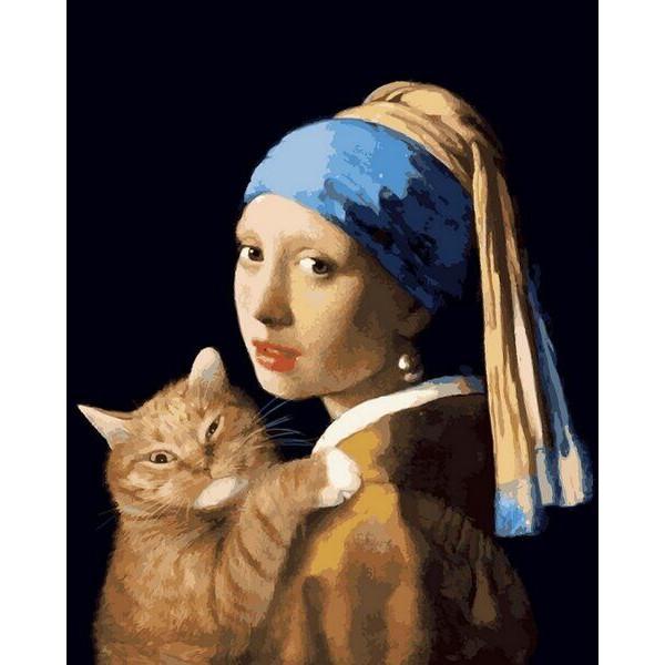 """Картина по номерам """"Девушка с жемчужной серёжкой с котом"""""""