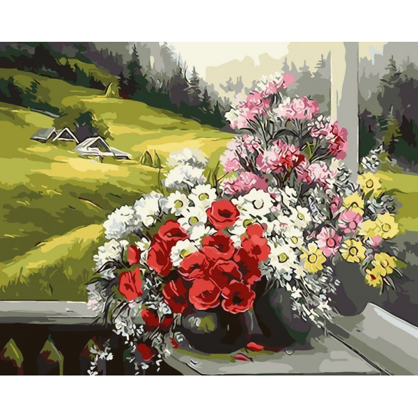 "Картина по номерам ""Букеты на окне"""