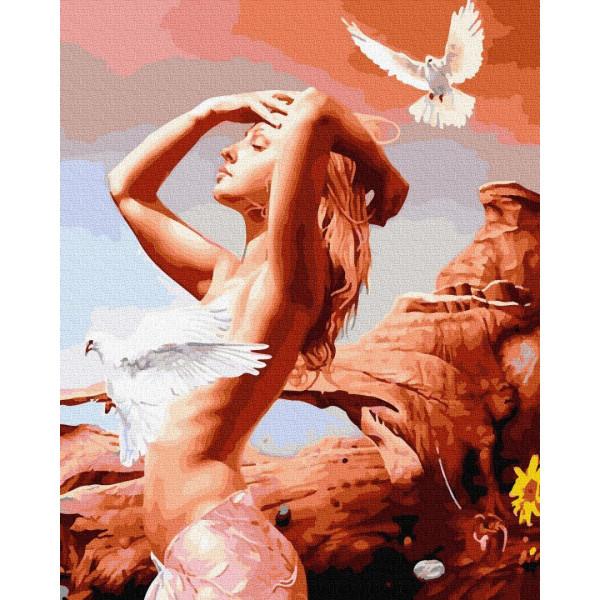 "Картина по номерам ""Девушка с голубями"""
