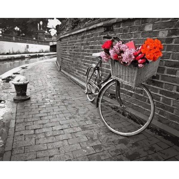 """Картина по номерам """"Велосипед с цветочной корзиной"""""""