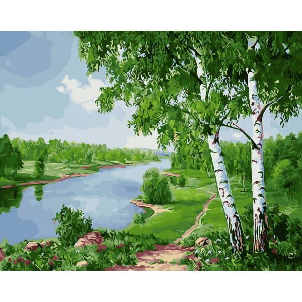 "Картина по номерам ""Берёзки у реки"""