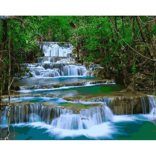 "Картина по номерам ""Водопад в зелени"""