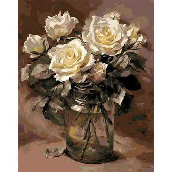 """Картина по номерам """"Белые розы в банке"""""""