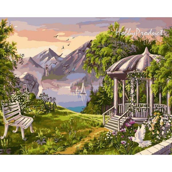 "Картина по номерам ""Беседка в горах"""