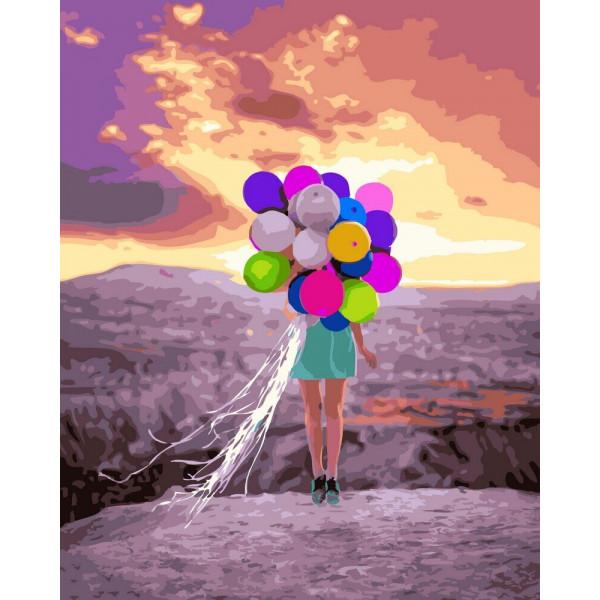 "Картина по номерам ""Девушка с шариками"""