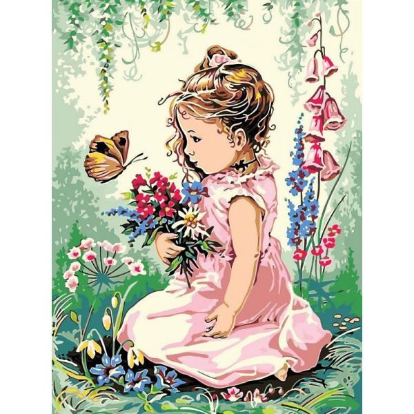 "Картина по номерам ""Девочка и бабочка"""