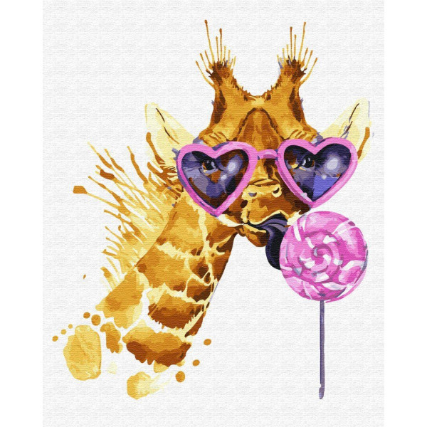 "Картина по номерам ""Жираф сладкоежка"""