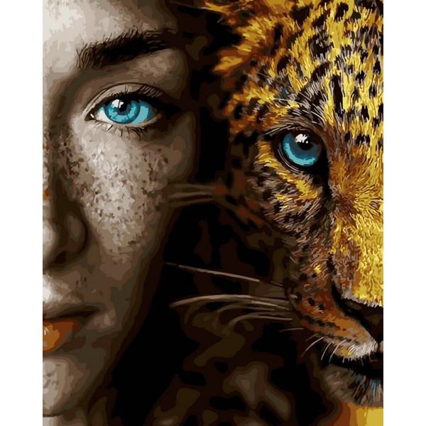 """Картина по номерам """"Девушка и леопард"""""""