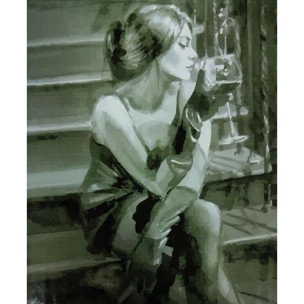 """Картина по номерам """"Девушка с бокалом на лестнице"""""""