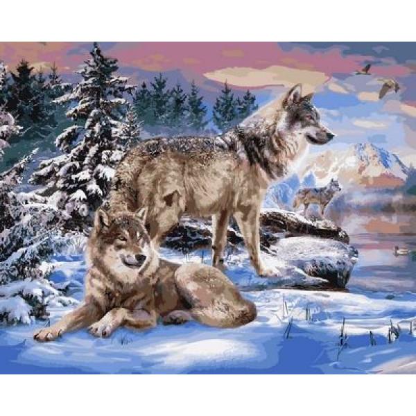 """Картина по номерам """"Волки на берегу реки"""""""