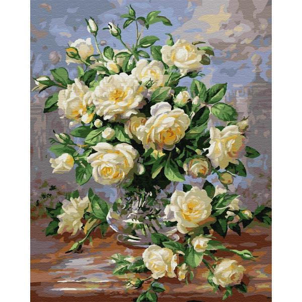 """Картина по номерам """"Белые розы в вазе"""""""