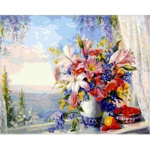 """Картина по номерам """"Лилии на окне с видом на море"""""""