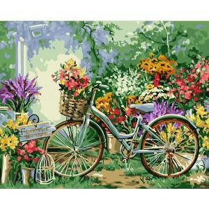 """Картина по номерам """"Велосипед в цветах"""""""
