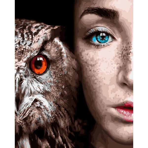 """Картина по номерам """"Девушка и сова"""""""