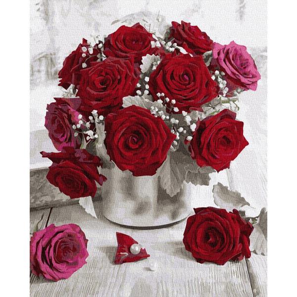 """Картина по номерам """"Бордовые розы"""""""