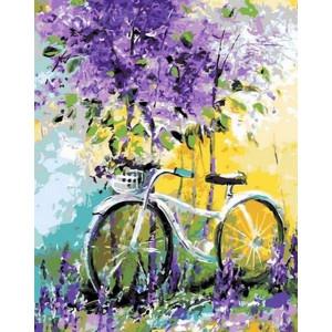 """Картина по номерам """"Велосипед в зарослях лаванды"""""""