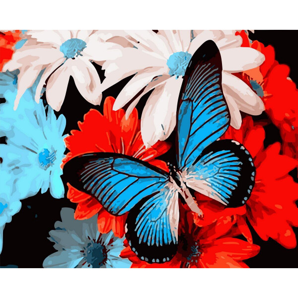 "Картина по номерам ""Голубая бабочка"""