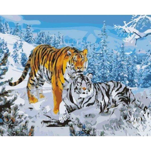 """Картина по номерам """"Два тигра"""""""