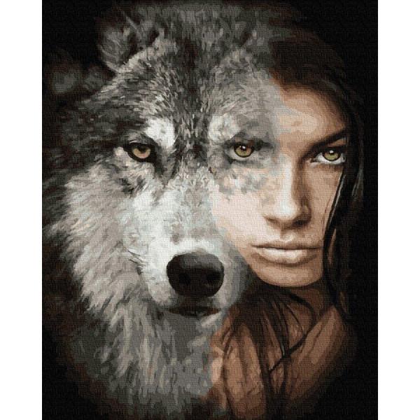 """Картина по номерам """"Волк и девушка"""""""