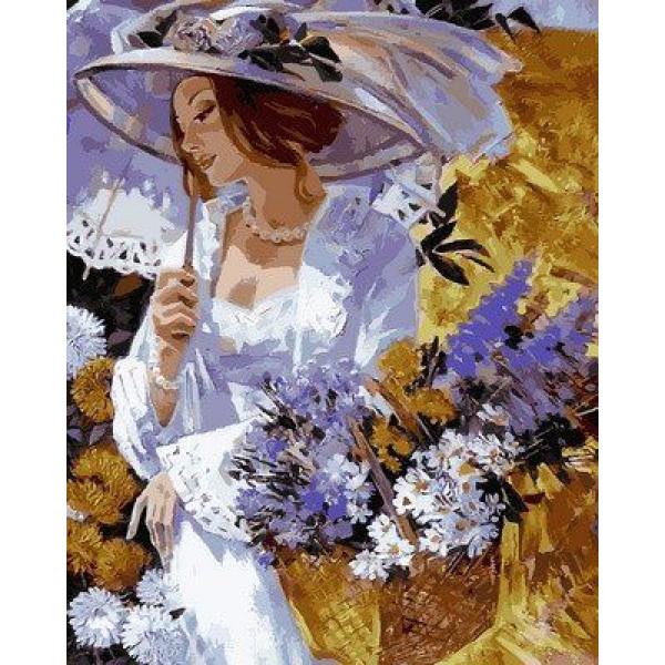 "Картина по номерам ""Девушка в саду хризантем"""