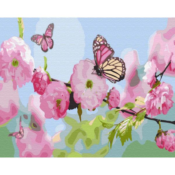 "Картина по номерам ""Бабочка на сакуре"""