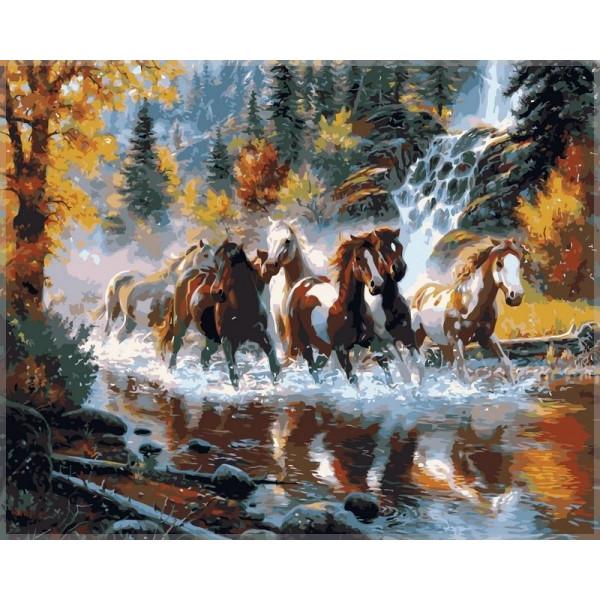 """Картина по номерам """"Дикие лошади"""""""