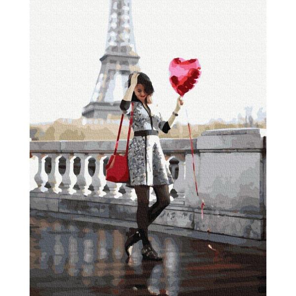 """Картина по номерам """"Влюбленная в Париже"""""""