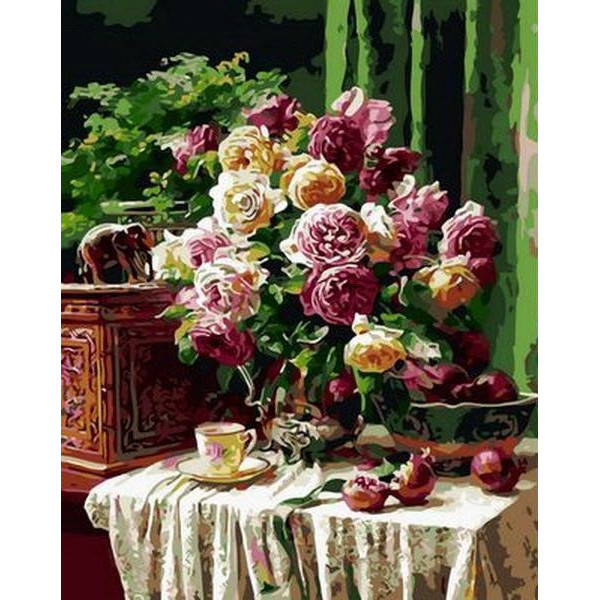 """Картина по номерам """"Бордовые розы и гранаты"""""""