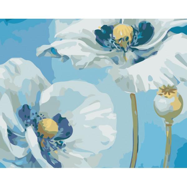 """Картина по номерам """"Белые цветы"""""""
