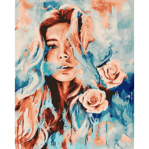 """Картина по номерам """"Девушка и розы"""""""