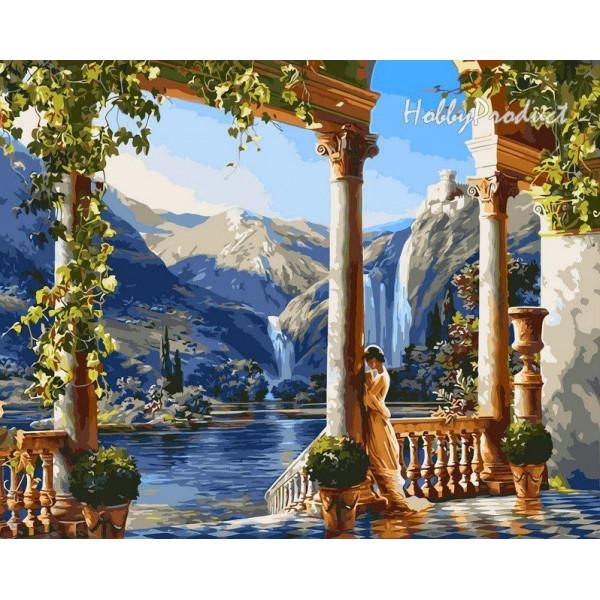 "Картина по номерам ""Девушка у водопада"""