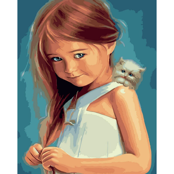 """Картина по номерам """"Девочка и котенок"""""""