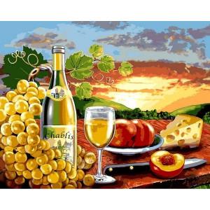 """Картина по номерам """"Белое вино с фруктами"""""""
