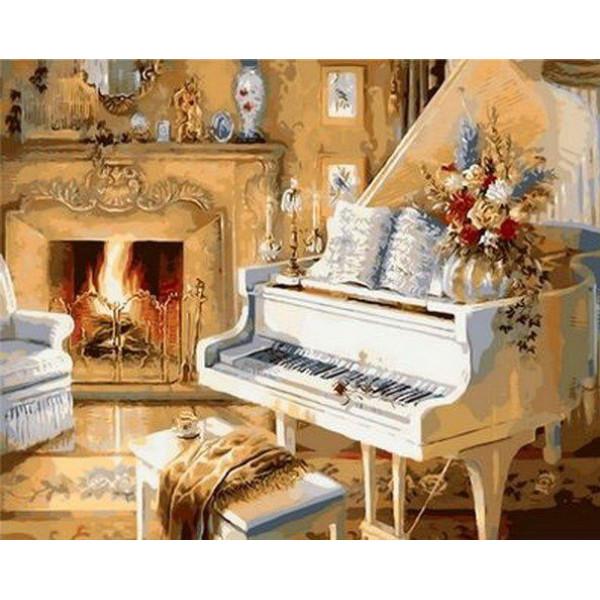"""Картина по номерам """"Белый рояль"""""""