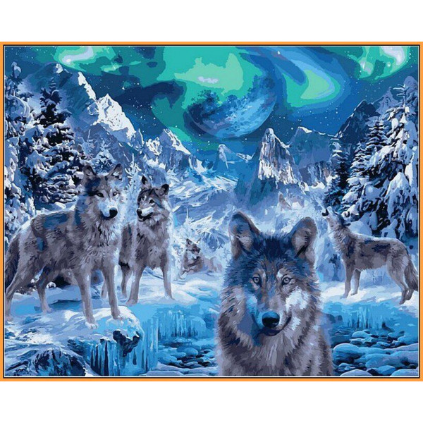 """Картина по номерам """"Волки и северное сияние"""""""