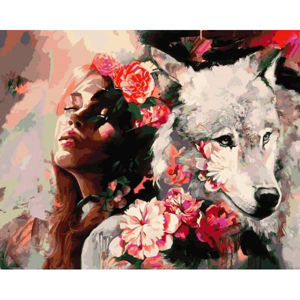 "Картина по номерам ""Белая волчица"""