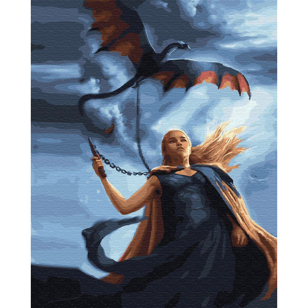 """Картина по номерам """"Дайнерис с драконом"""""""