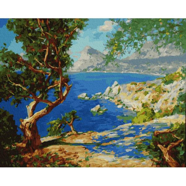 "Картина по номерам ""Дерево на скалистом берегу"""