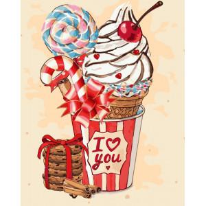 "Картина по номерам ""Вишневое мороженко"""