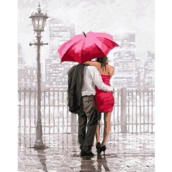 """Картина по номерам """"Влюбленные под красным зонтом"""""""