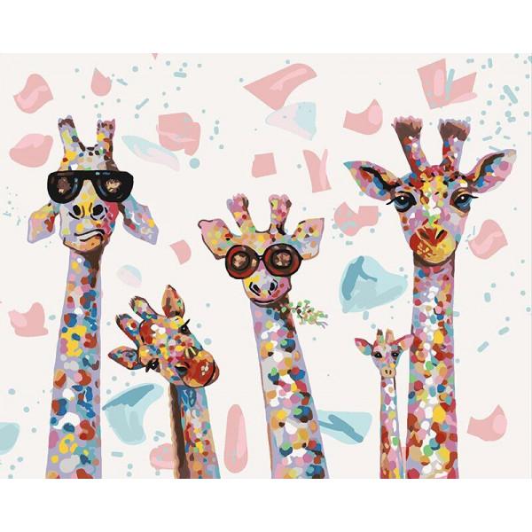 "Картина по номерам ""Веселые жирафы"""