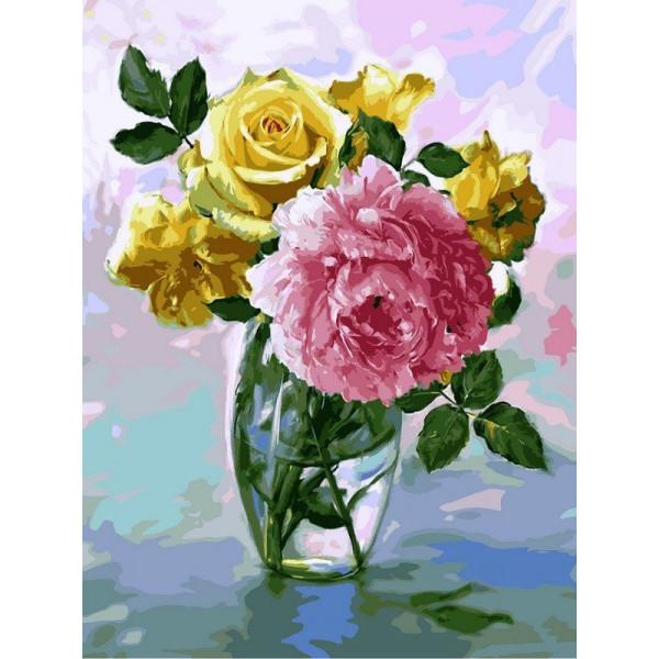 """Картина по номерам """"Букет с розовым пионом"""""""