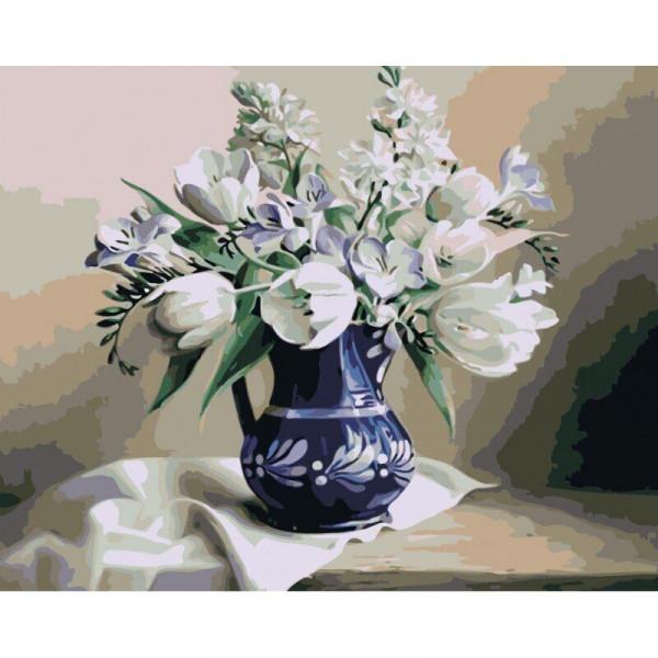 "Картина по номерам ""Белые тюльпаны"""
