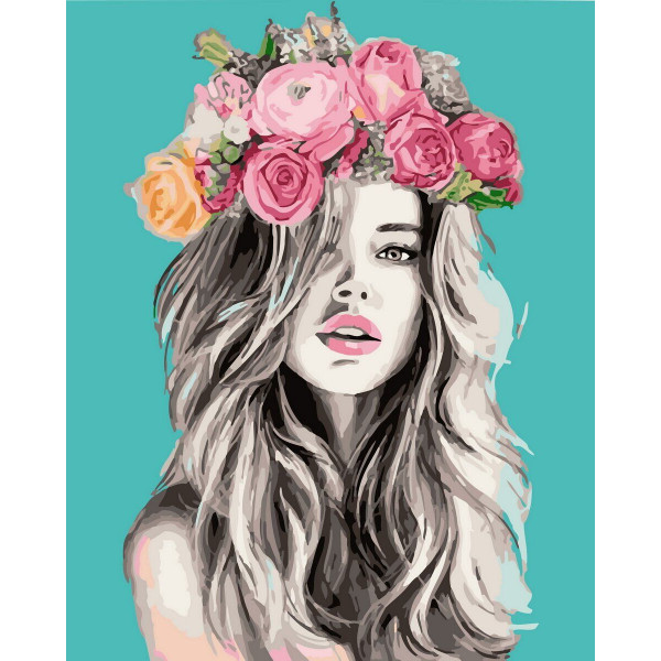 "Картина по номерам ""Венок из роз"""